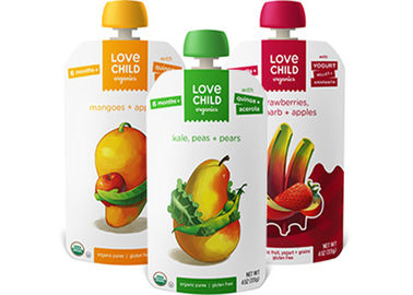 Custom Printed Spout Pouch Packaging , Reusable Disposable Baby Food Pouches With Spout